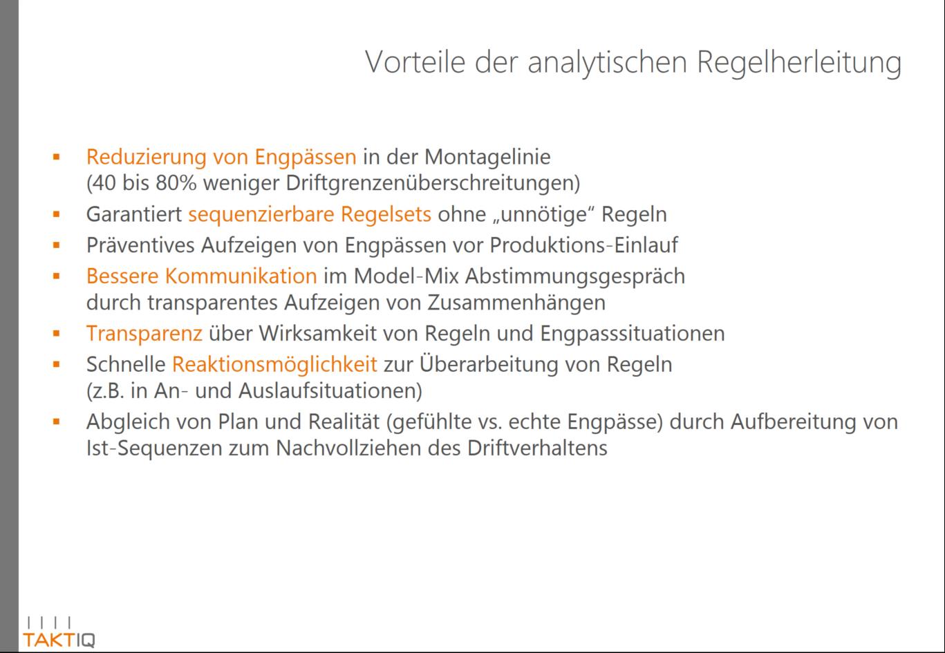 Vorteile der analytischen Regelherleitung