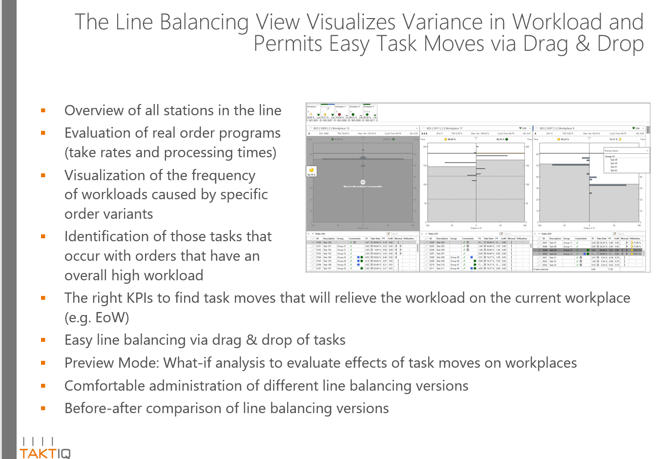Slide about easy line balancing via drag and drop